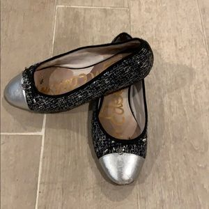 Sam Edelman black bow flats silver leather toe